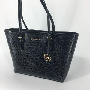 Michael Kors Jet Set Travel Tote Bag Black Logo